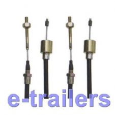 PAIR OF 770mm GENUINE KNOTT ALKO THREADED DETACHABLE TRAILER BRAKE CABLE -26mm FUNNEL ON THE END